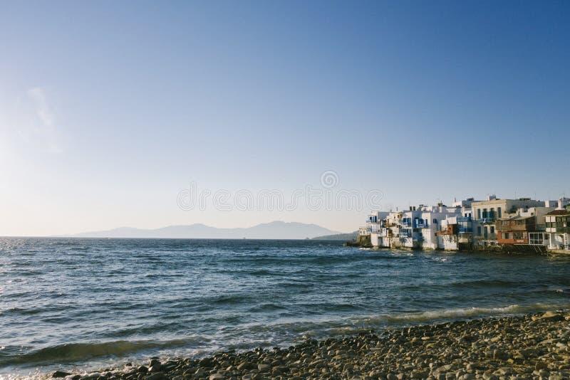 ` weinig Venetië ` in Mykonos, Griekenland stock afbeelding