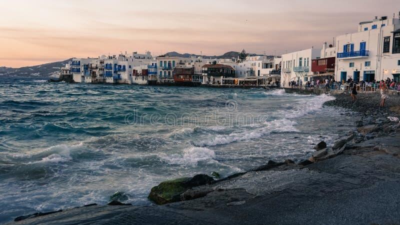 Weinig Venetië van Mykonos stock fotografie