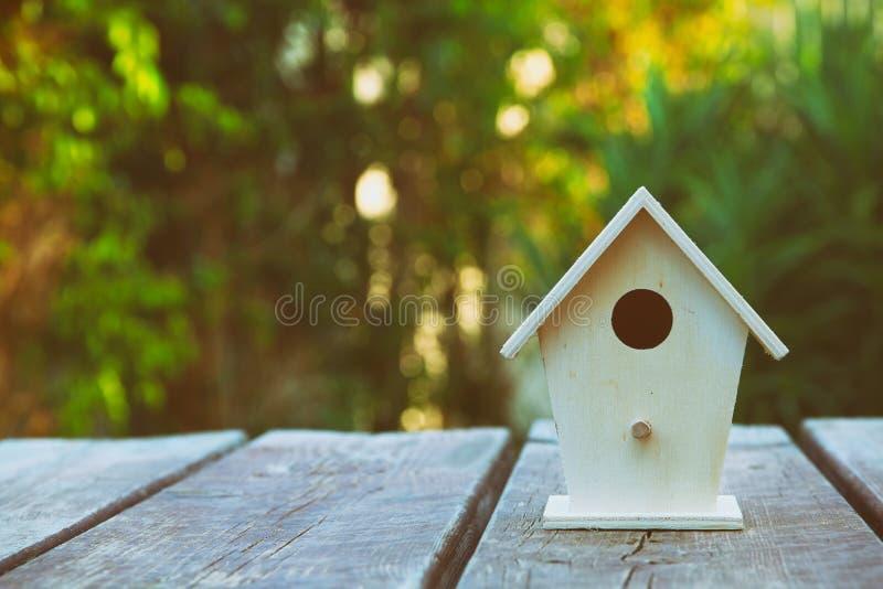 Weinig Vogelhuis in de Lente met de bloem van de bloesemamandel royalty-vrije stock fotografie