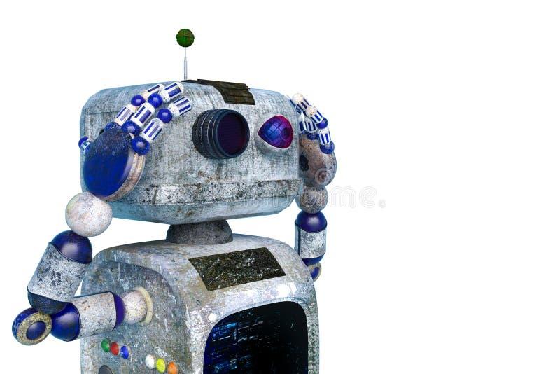 Weinig vuilrobot op een witte achtergrond royalty-vrije illustratie