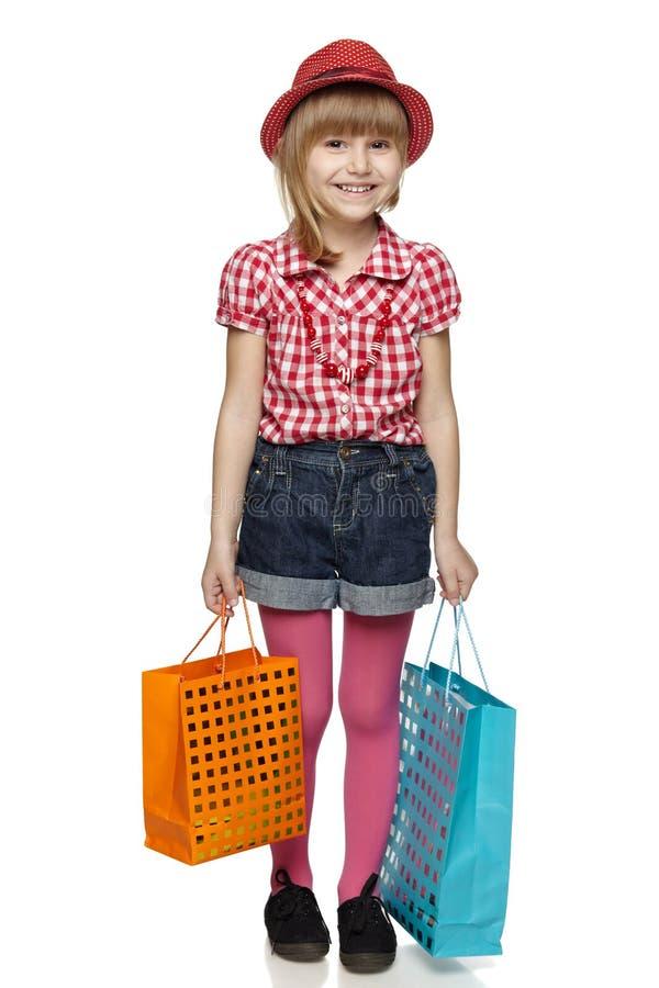 Weinig winkelend meisje royalty-vrije stock foto