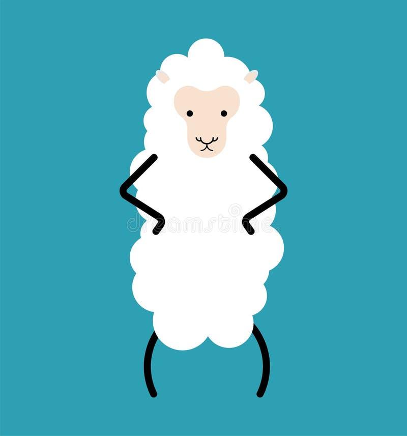Weinig Wit geïsoleerd schaap Landbouwbedrijf dierlijke vectorillustratie stock illustratie