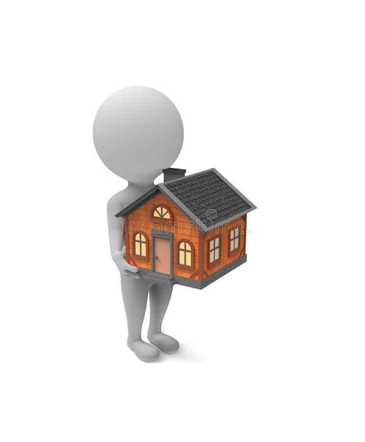 Weinig witte mens houdt een huis in zijn handen stock illustratie