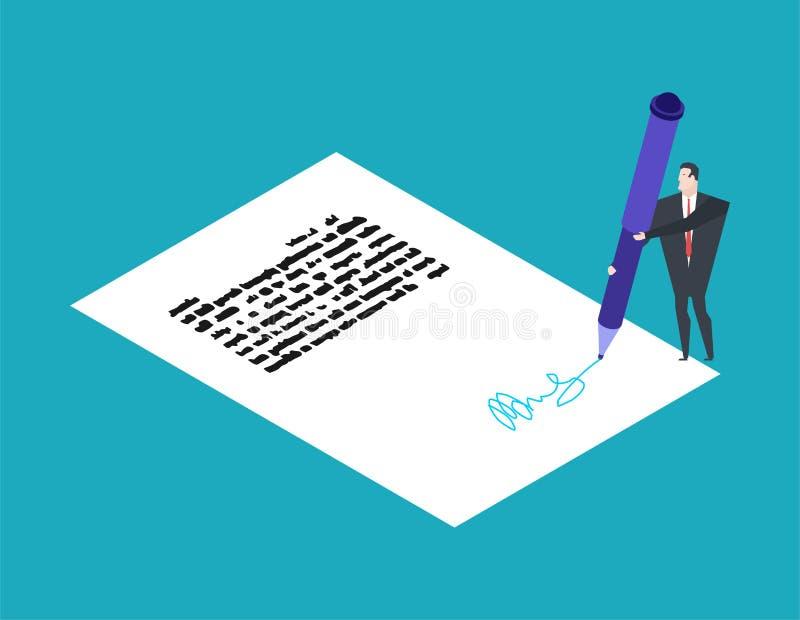 Weinig Zakenman en Grote Pen Schrijf handtekening voor documenten stock illustratie