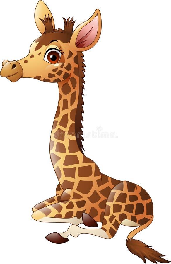 Weinig zitting van het girafkalf royalty-vrije illustratie