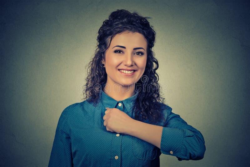 Weinig zoete superheroine Zekere moedige gelukkige vrouw stock fotografie