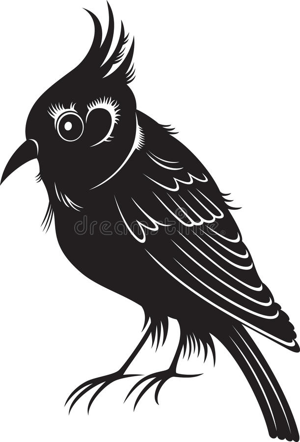 Weinig zwarte beeldverhaalvogel vector illustratie