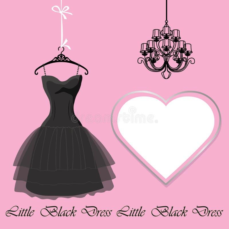 Weinig zwarte kleding met etiket en kroonluchter royalty-vrije illustratie