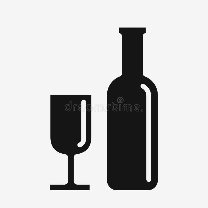 Weinikone, -glas und -flasche lizenzfreie abbildung