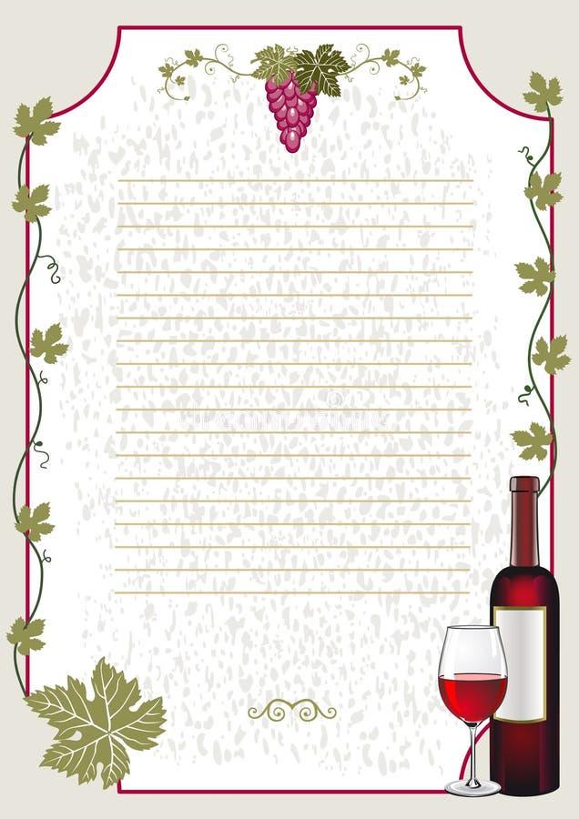 Weinkarte lizenzfreie abbildung