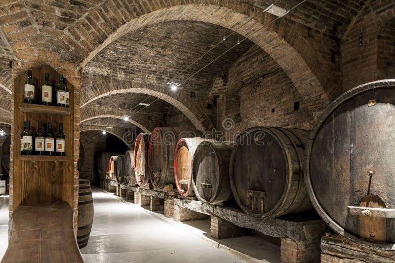 Weinkeller in der Benediktiner-Abtei von Monte Oliveto Maggiore, großes Kloster in Toskana, Italien lizenzfreies stockbild