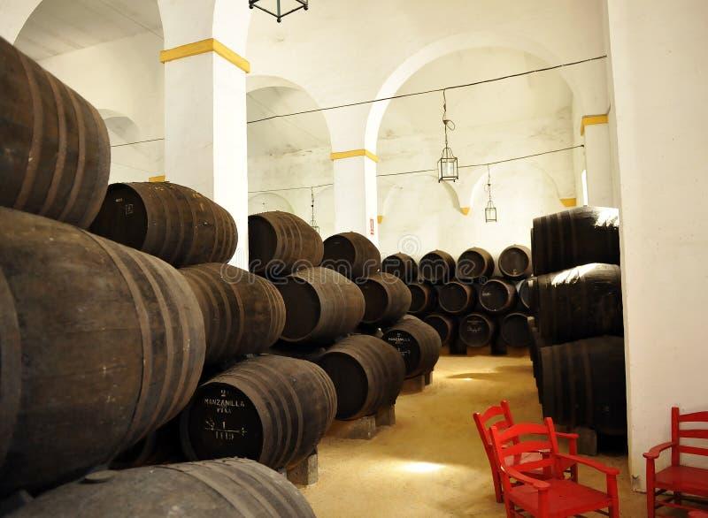 Weinkeller, Sanlucar de Barrameda, Cadiz, Spanien lizenzfreies stockfoto