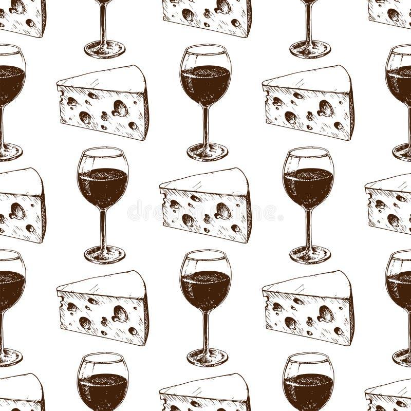 Weinkellerei, die Musterindustriealkoholproduktions-Vektorillustration des Ernteweinglases nahtlose macht stock abbildung