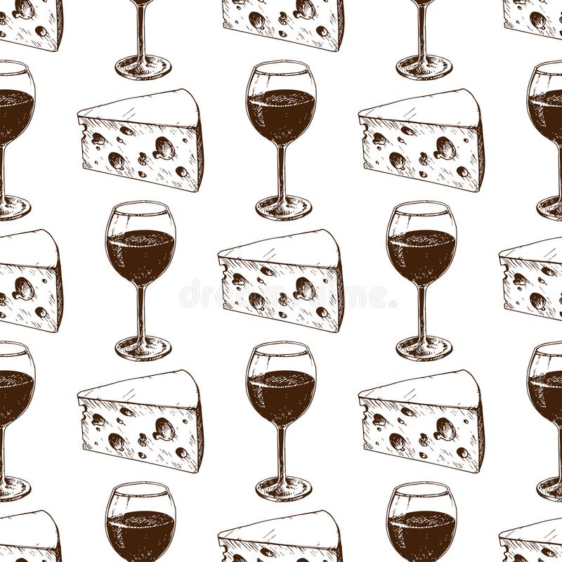 Weinkellerei, die Musterindustriealkoholproduktions-Vektorillustration des Ernteweinglases nahtlose macht lizenzfreie abbildung