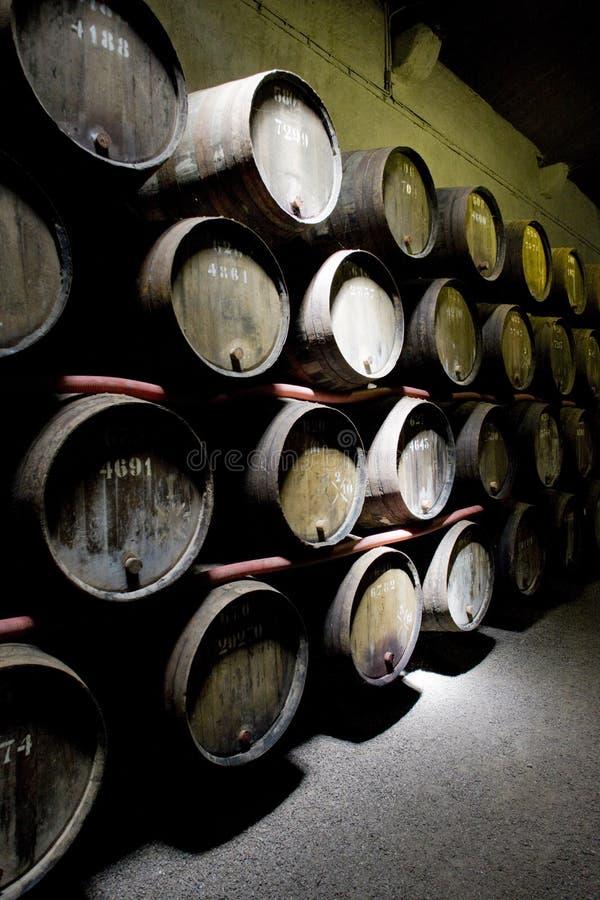 Weinkellerei in Porto stockbild