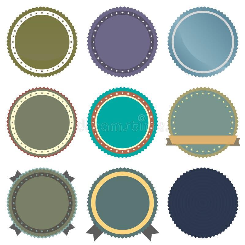 Weinlese-Abzeichen-gesetzte Ikonen lizenzfreie abbildung