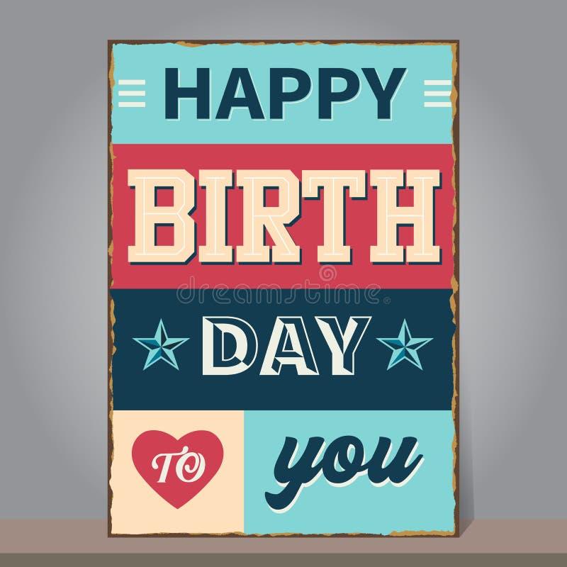 Weinlese-alles Gute zum Geburtstag mit Schmutz und rostigem Hintergrund Entwurf lizenzfreie abbildung