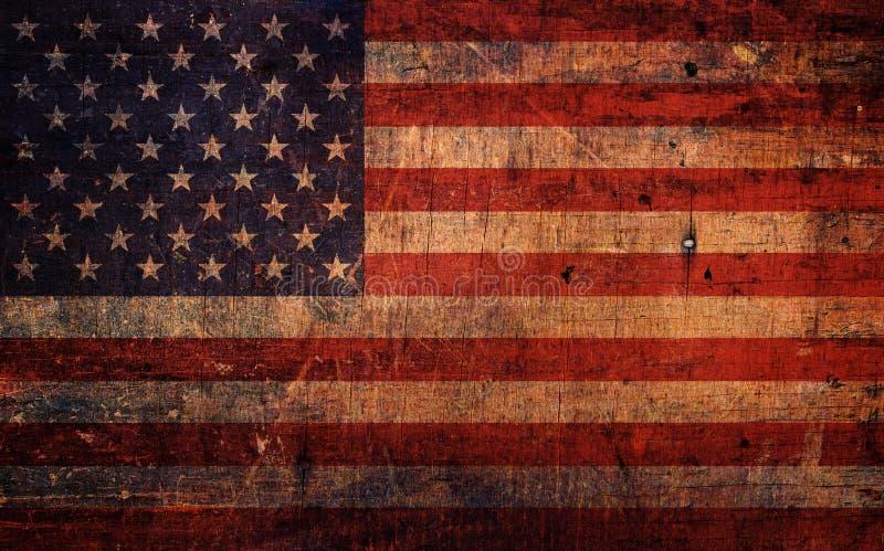 Weinlese-alte Schmutz-amerikanische Flagge stockbilder