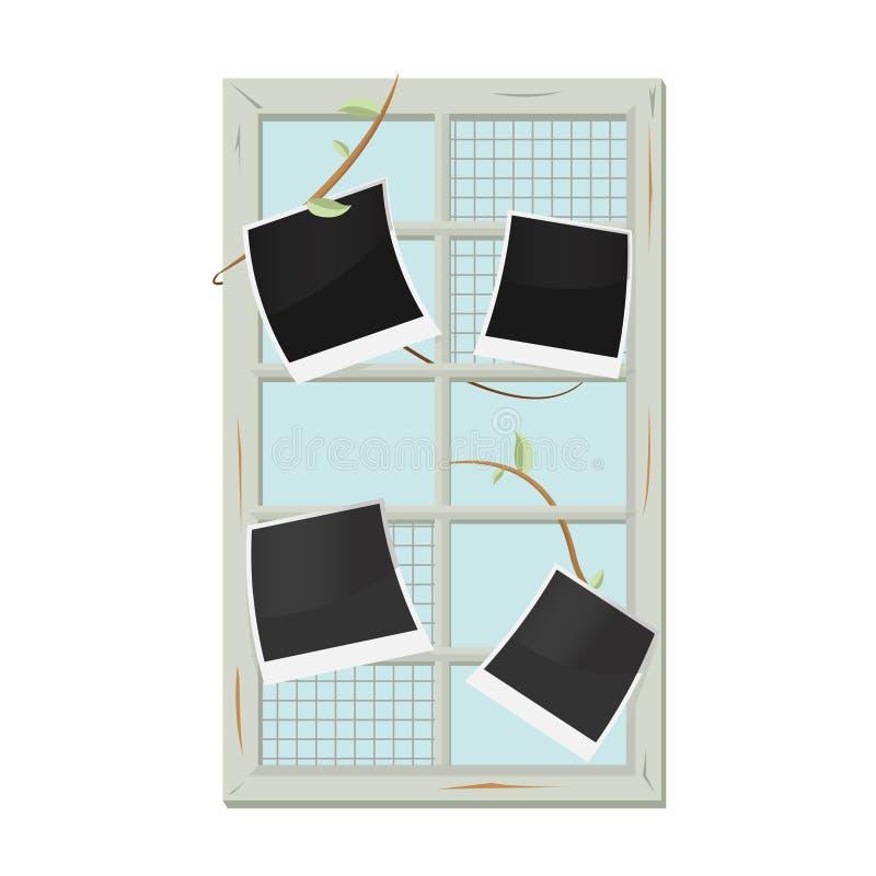 Weinlese-alter Fenster-Rahmen-Bild-Vektor Stock Abbildung ...