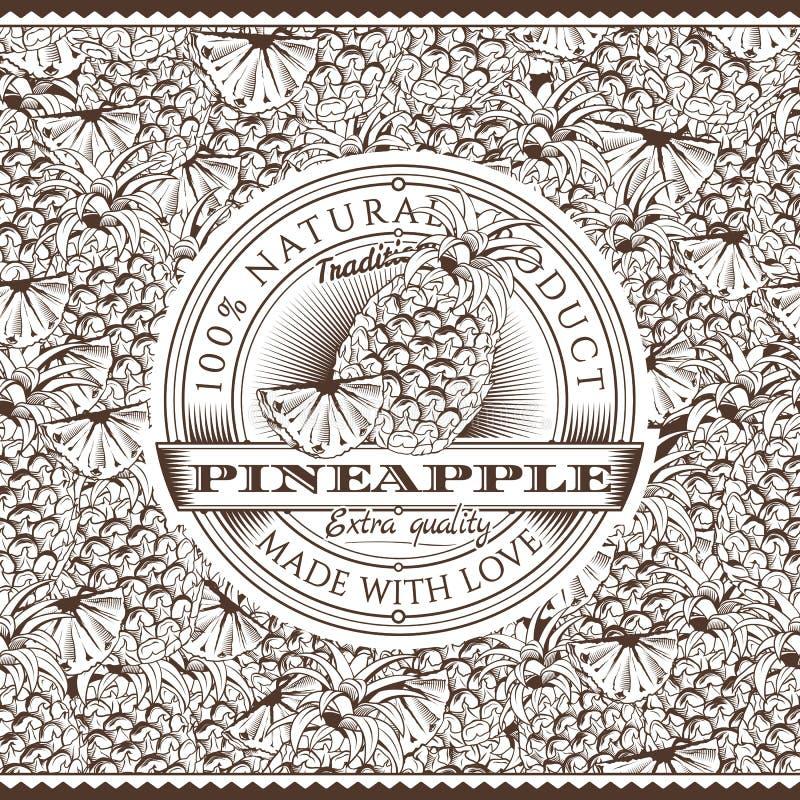 Weinlese-Ananas-Aufkleber auf nahtlosem Muster lizenzfreie abbildung
