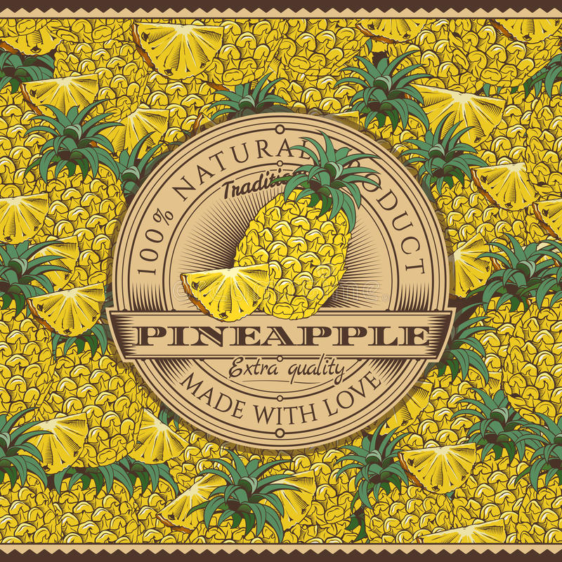 Weinlese-Ananas-Aufkleber auf nahtlosem Muster stock abbildung