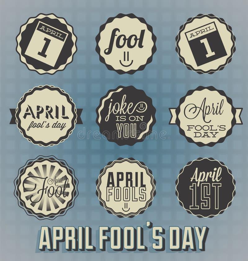 Weinlese April Fools Day Labels lizenzfreie abbildung
