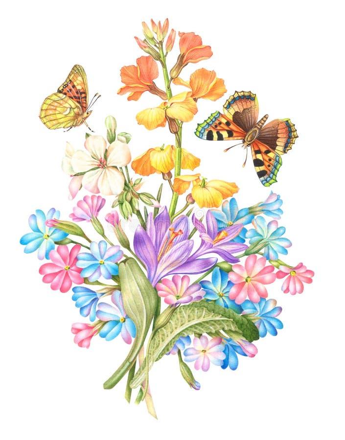 Weinlese-Aquarell-Gruß-Karte mit blühenden Blumen stockfoto