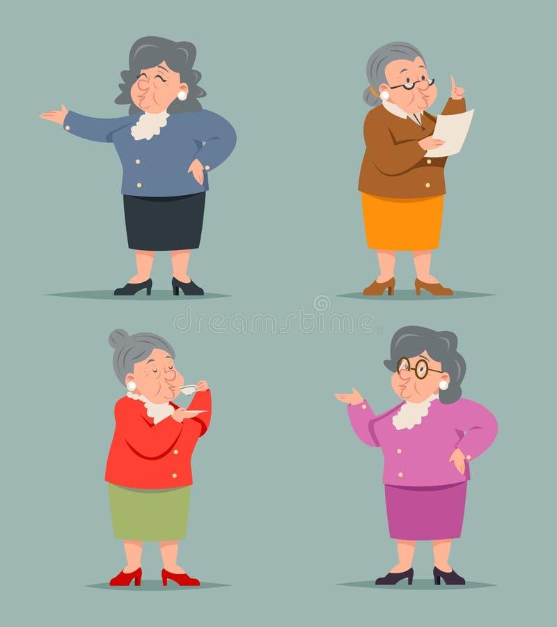 Weinlese-Art Adult Old Female Granny-Charakter-Ikonen-Retro- Karikatur-Design-Vektor-Illustration vektor abbildung
