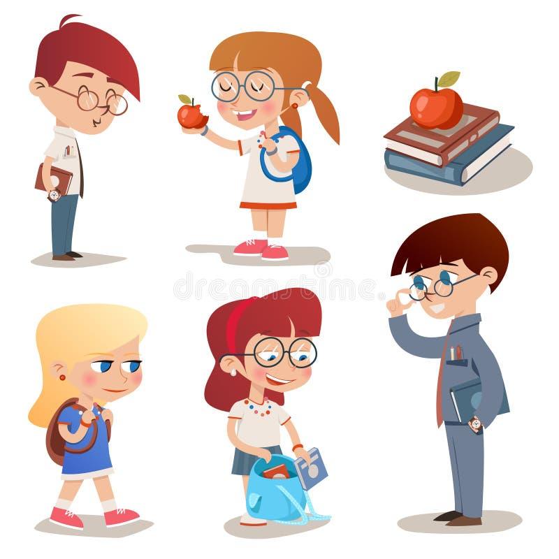 Weinlese-Art-Charakter-Schulkinder eingestellt stock abbildung