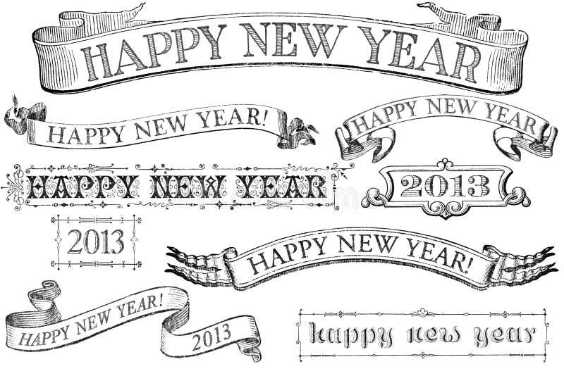 Weinlese-Art-glückliches neues Jahr-Fahnen lizenzfreie abbildung