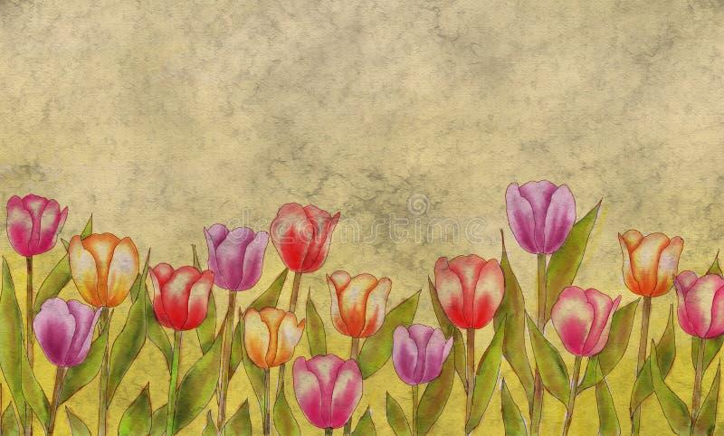 Weinlese-Art-Tulpen-leere Gruß-Karte vektor abbildung
