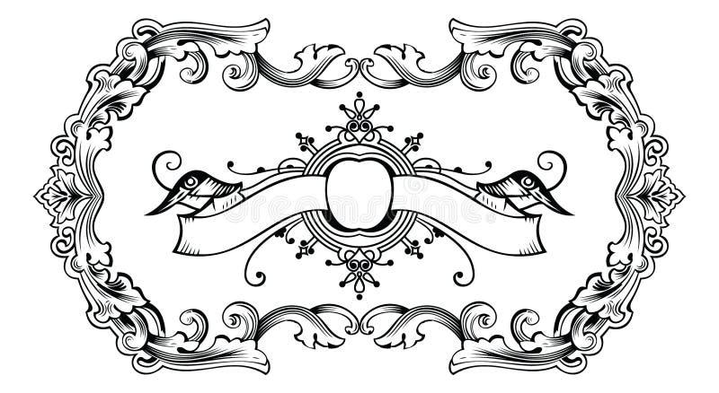Weinlese-aufwändiger Rahmen und Fahne stock abbildung