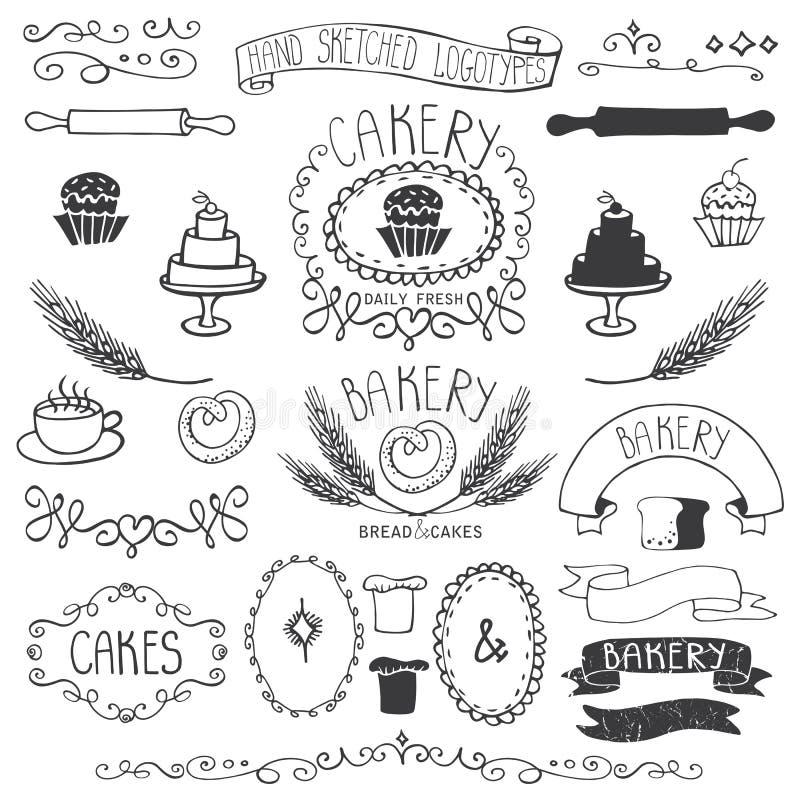Weinlese-Bäckerei beschriftet Elementsatz Hand skizziert stock abbildung