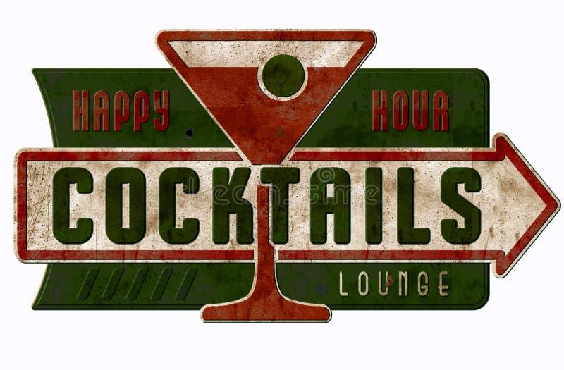 Weinlese-Bar-Zeichen-glückliche Stunden-Cocktails stockbild
