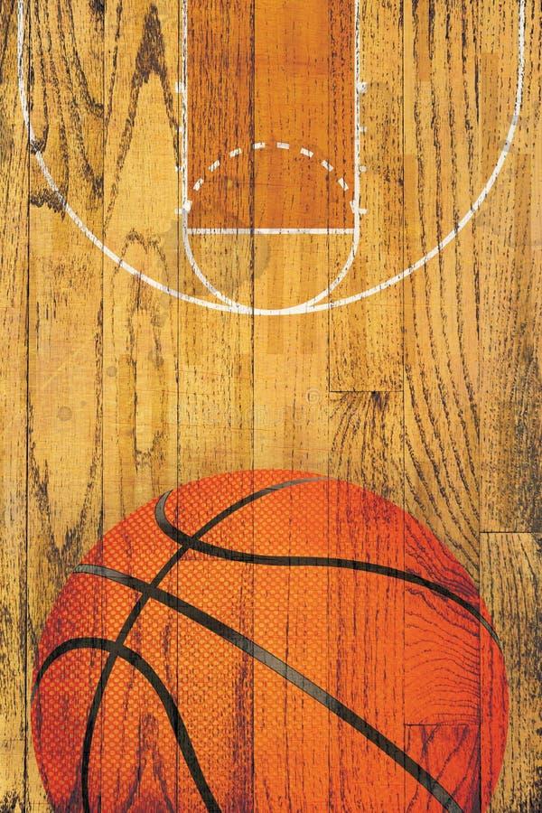 Weinlese-Basketball-Massivholzboden-Hintergrund stock abbildung