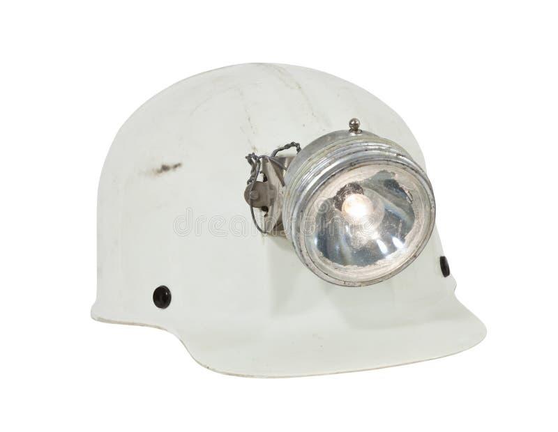 Weinlese-Bergbau-und Höhlenkunden-harter Hut getrennt stockfotografie