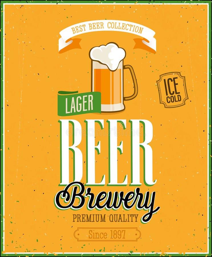 Weinlese-Bier-Brauerei-Plakat. lizenzfreie abbildung