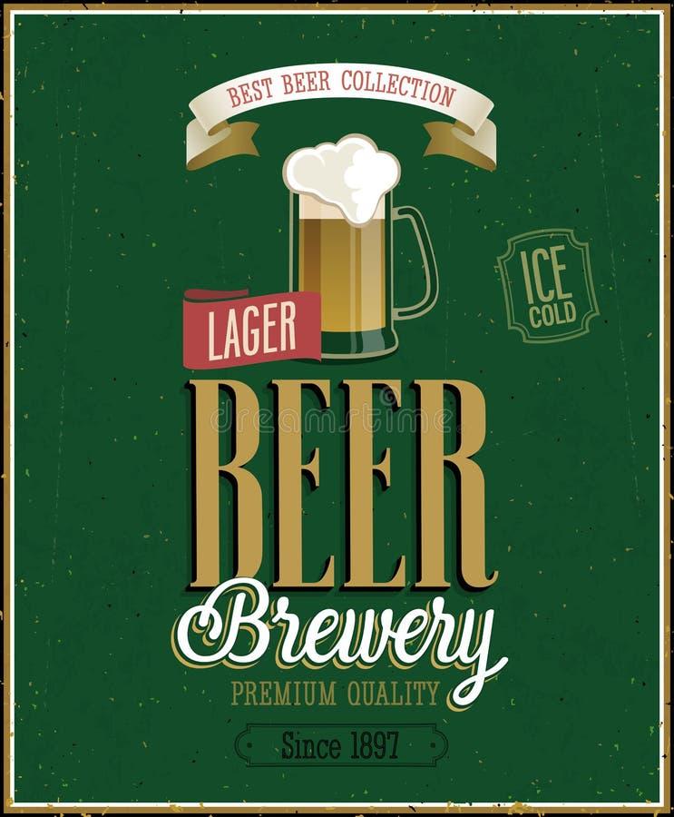 Weinlese-Bier-Brauerei-Plakat. stock abbildung