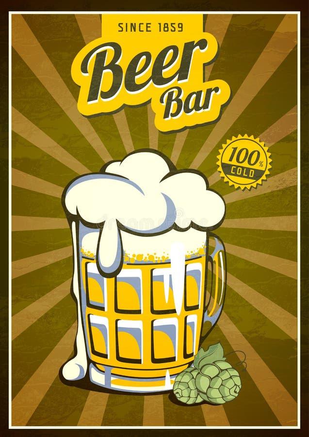Weinlese-Bier-Plakat lizenzfreie abbildung