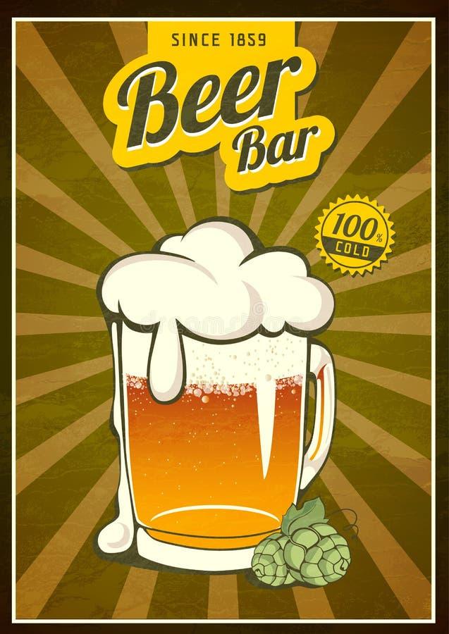 Weinlese-Bier-Plakat stock abbildung
