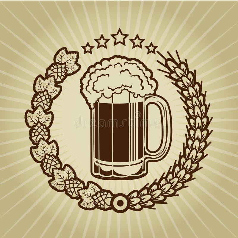 Weinlese-Bierkrug-Dichtung stock abbildung