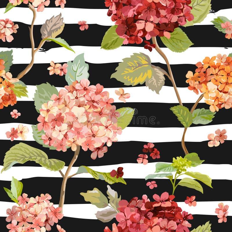Weinlese blüht - Blumen-Hortensia Background - nahtloses Muster vektor abbildung