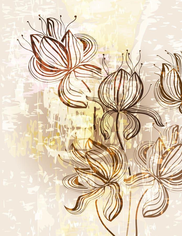 Weinlese blüht Verzierungs-Hintergrund vektor abbildung
