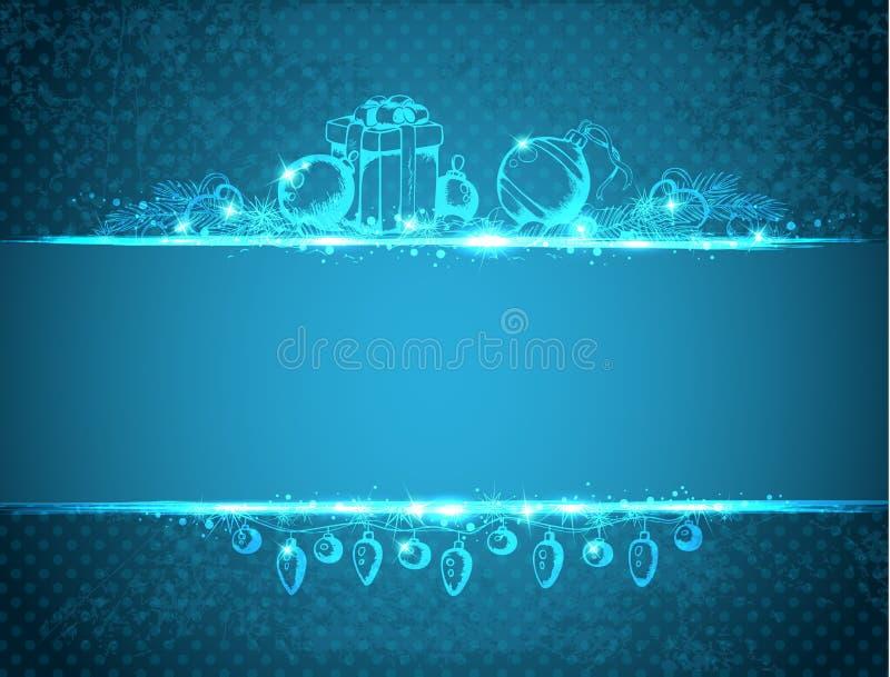 Weinlese-blauer Weihnachtshintergrund stock abbildung