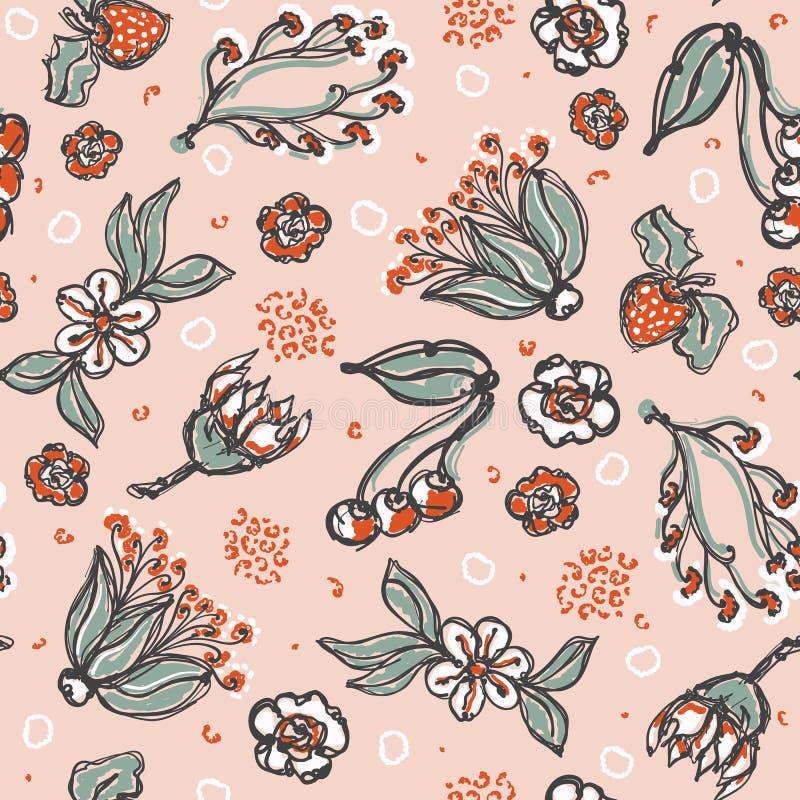 Weinlese-Blumen-Illustration Daisy Fruit Vector Pattern Hands der Art-50s gezogene nahtlose für Sommer-Mode-Druck stock abbildung
