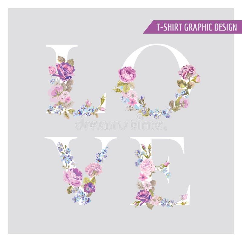 Weinlese-Blumen-Liebes-Hintergrund vektor abbildung
