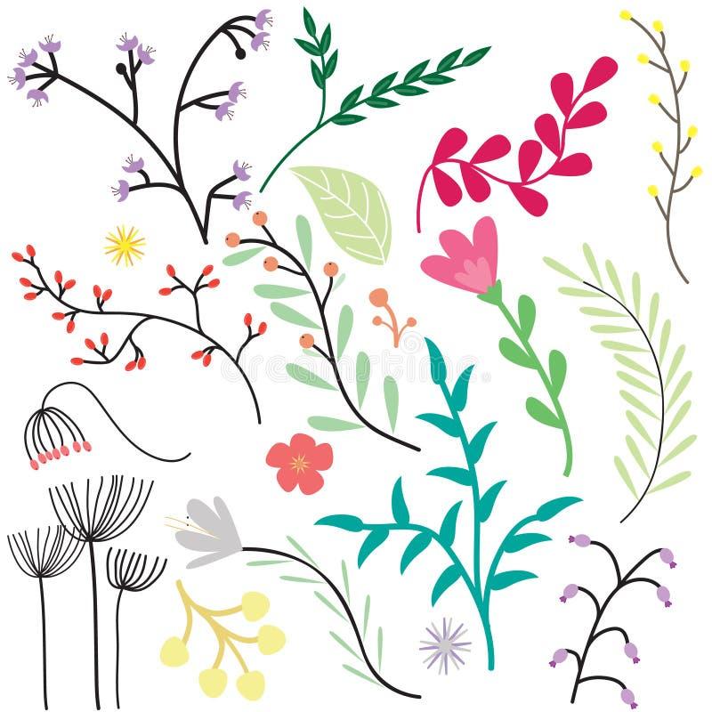 Weinlese-Blumen-Satz lizenzfreies stockfoto