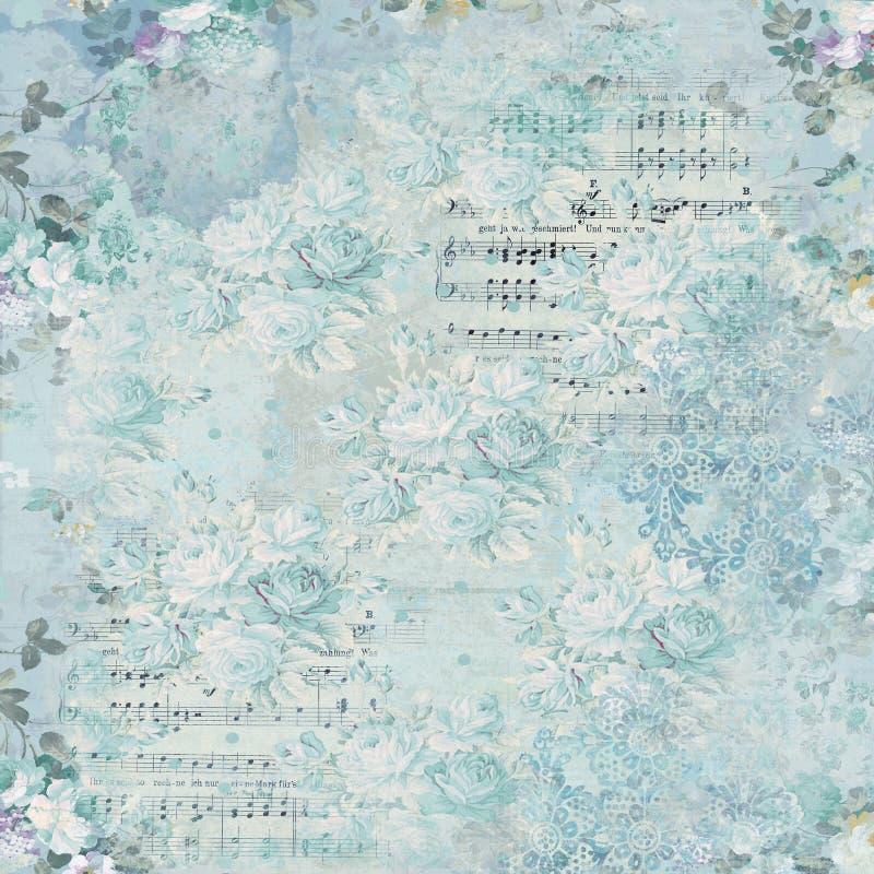 Weinlese-Blumencollagen-Hintergrund - Blumenhintergrund - Eintagsfliegen - Noten - schäbiges Chic vektor abbildung