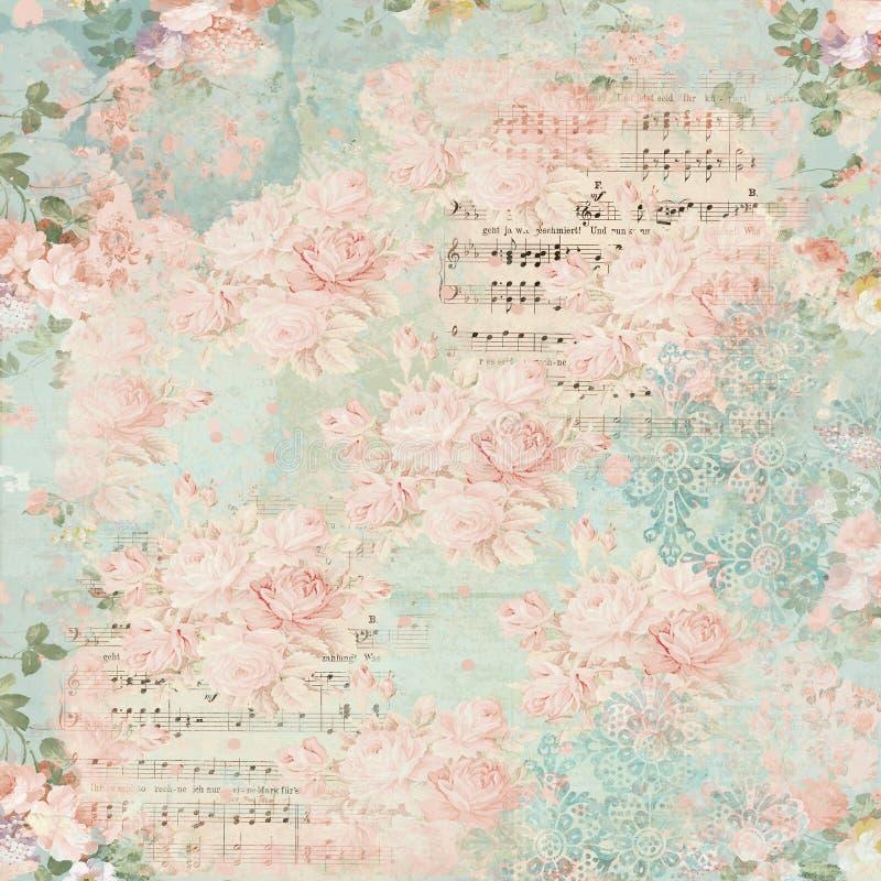 Weinlese-Blumencollagen-Hintergrund - Damast - Häuschen-Rosen - Rosa - schäbiges schickes Papier stock abbildung