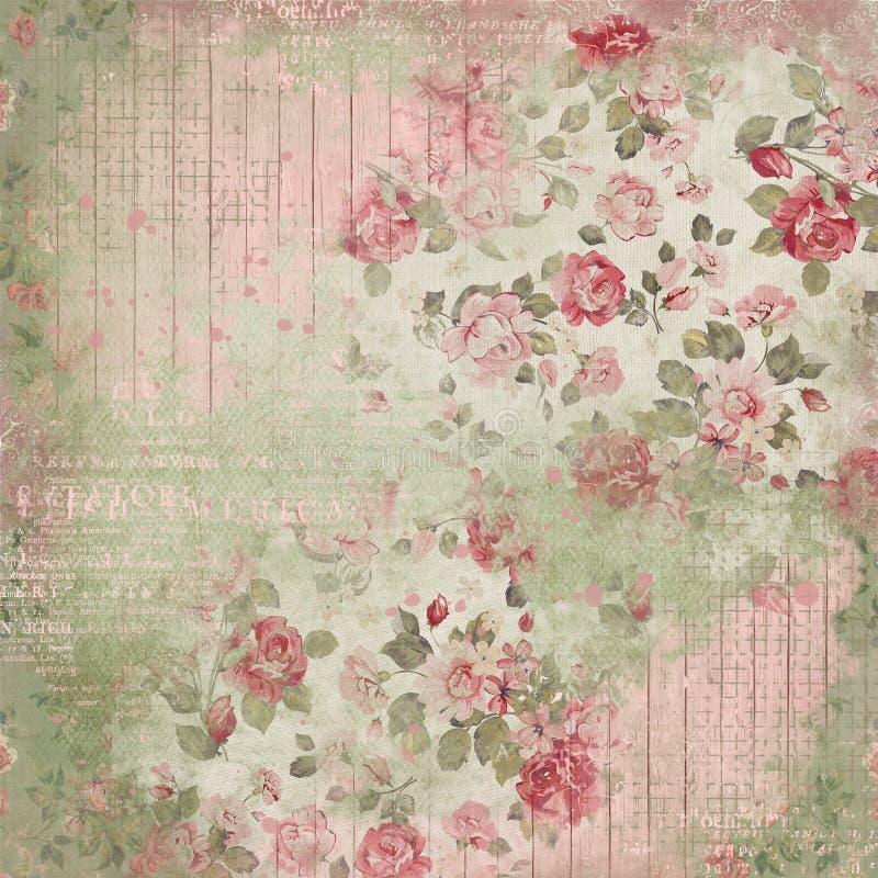 Weinlese-Blumencollagen-Hintergrund - Damast - Häuschen-Rosen - Rosa - schäbiges schickes Papier vektor abbildung